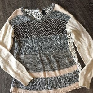 BKE sweater with lace back!